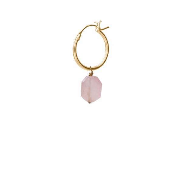 Rose Quartz Sterling Silver Gold-Plated Hoop Earring