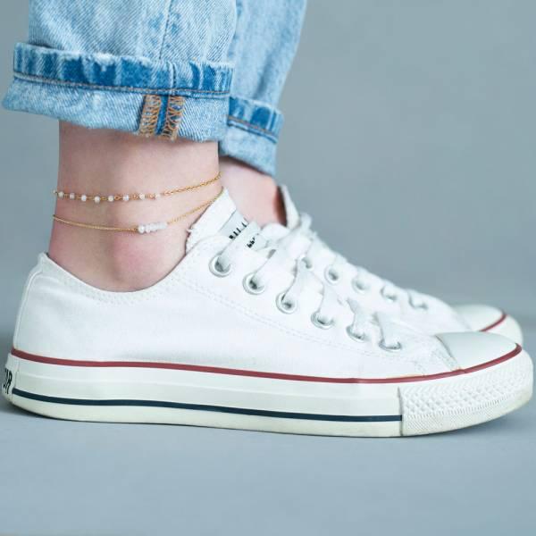Shimmer Moonstone Sterling Silver Gold-Plated Anklet