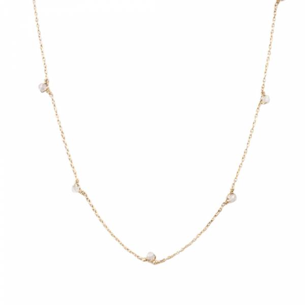Mini Rose Quartz Sterling Silver Gold-plated Necklace