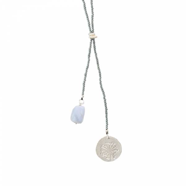 Fairy Blue Lace Agate Dandelion Silver Necklace