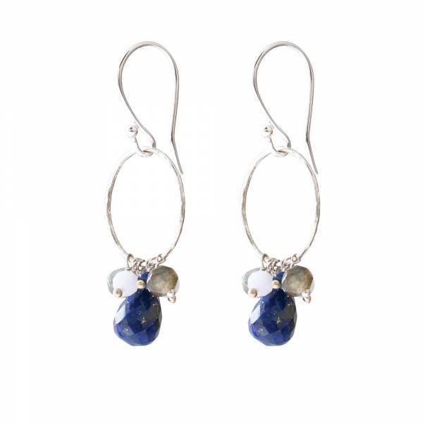 Flourish Lapis Lazuli Mix Zilver Oorbellen