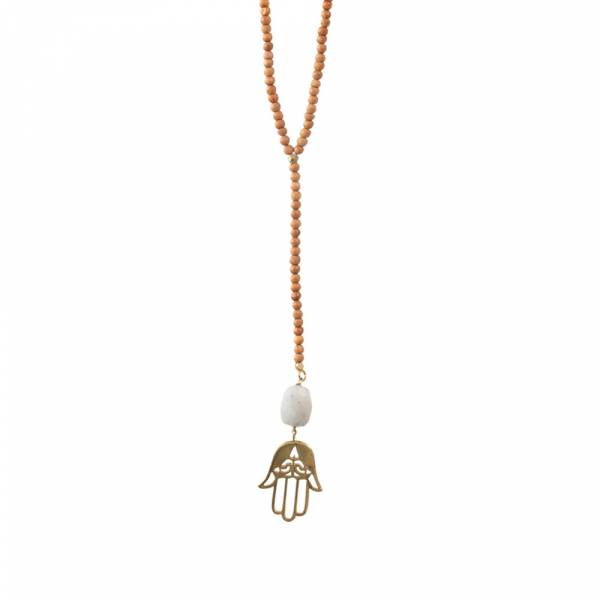 Namaste Moonstone Hamsa Gold Necklace