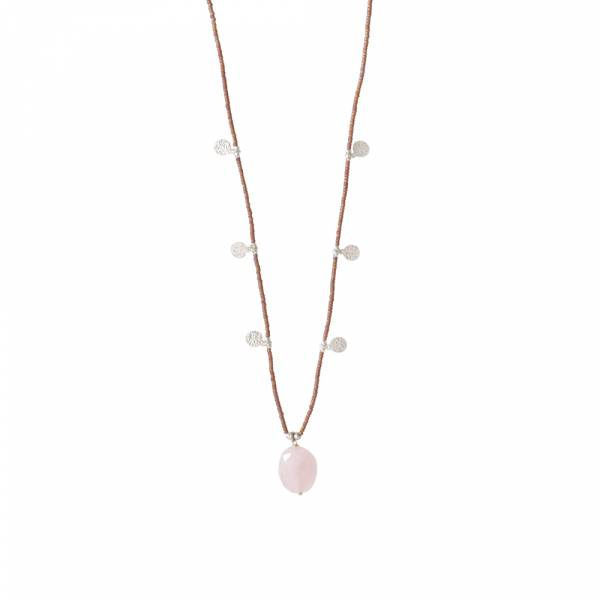 Charming Rosenquarz Silber Halskette