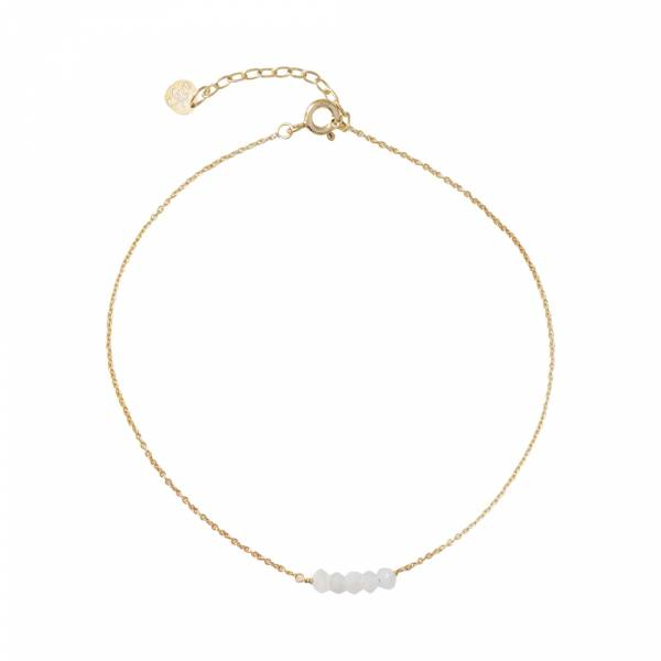 Cute Moonstone Sterling Silver Gold-Plated Anklet