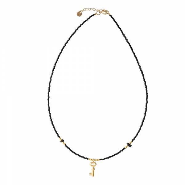 Wildflower Schwarzer Onyx Gold Halskette