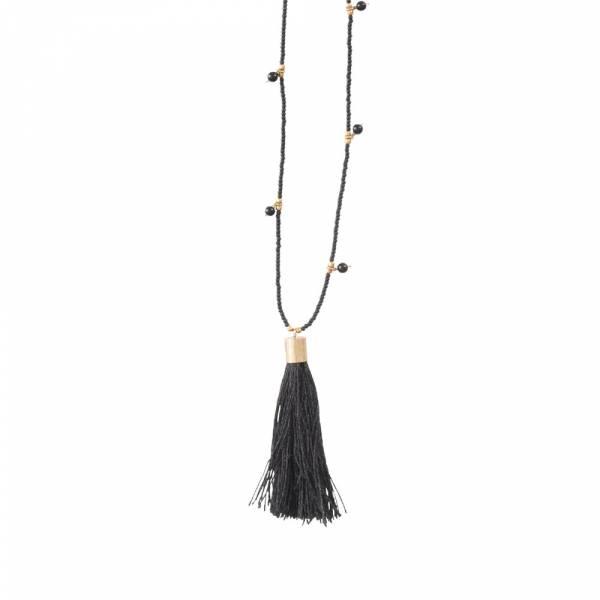 Luminous Schwarzer Onyx Gold Halskette