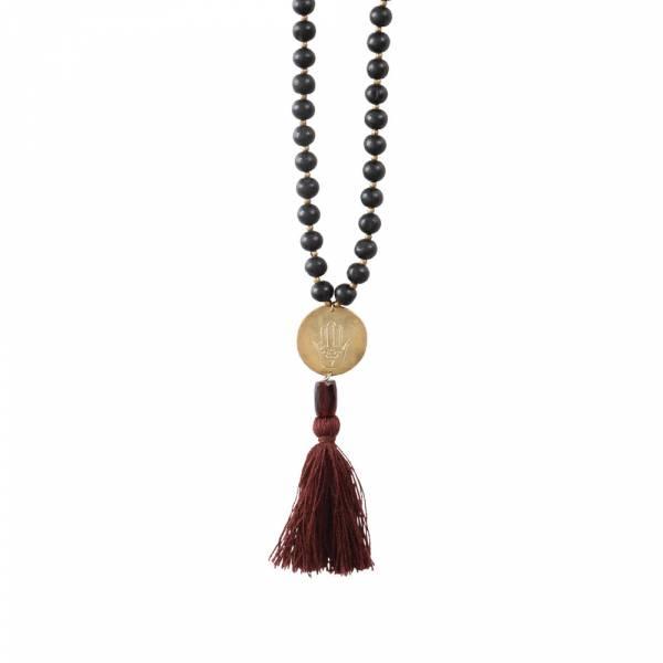 Satya Garnet Hamsa Gold Necklace