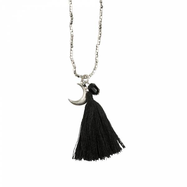Bloom Black Onyx Moon Silver Necklace