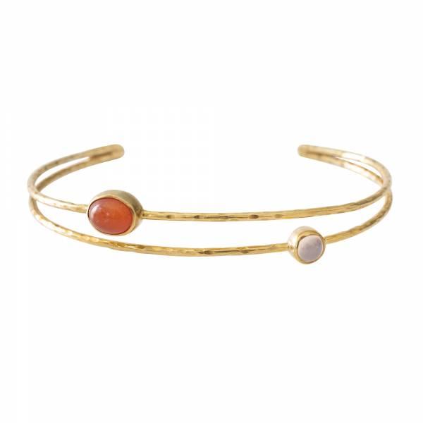 Birthday Rosenquarz Karneol Gold Armband
