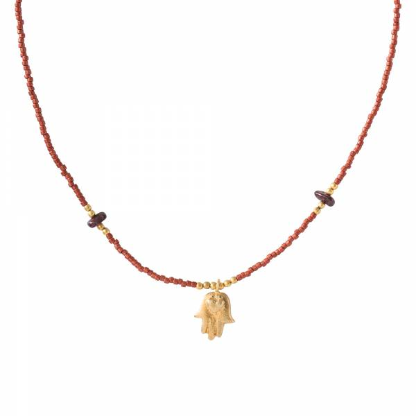 Wildflower Garnet Gold Necklace