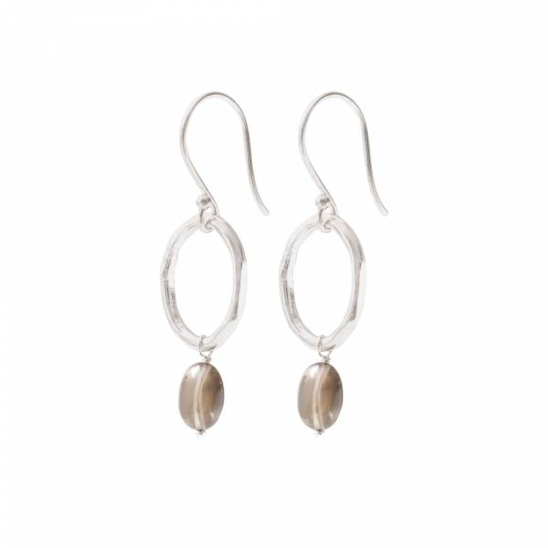 Graceful Smokey Quartz Silver Earrings