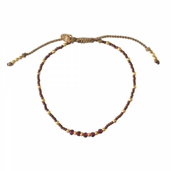 Family Granat Gold Armband