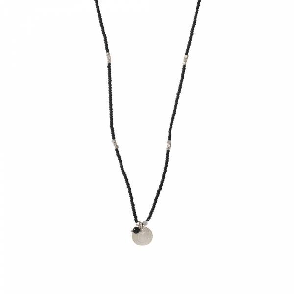 Truly Black Onyx Moon Silver Necklace