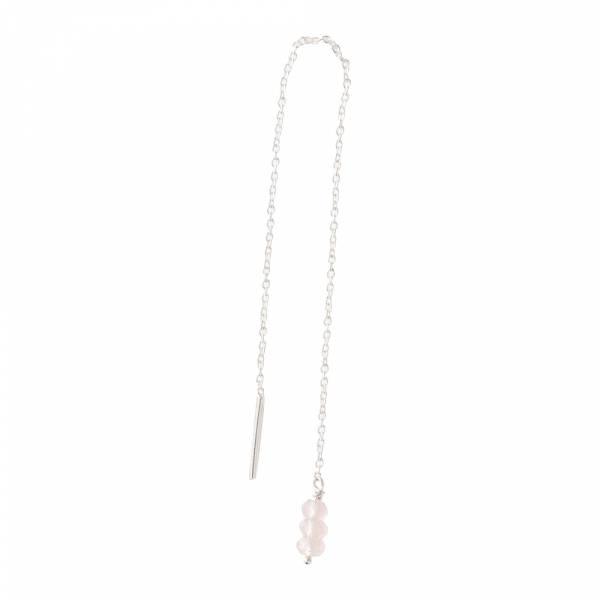 Simple Rose Quartz Sterling Silver Earring