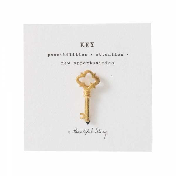 Brosche Schlüssel Gold