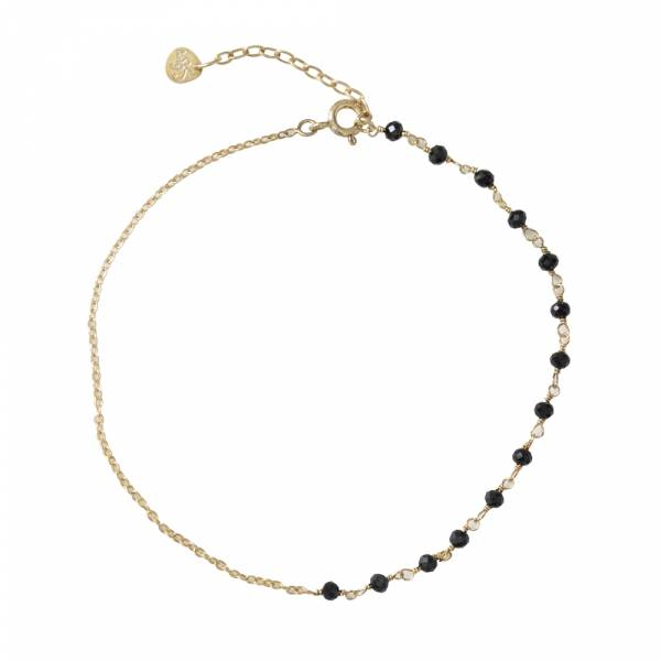 Shimmer Black Onyx Sterling Silver Gold-Plated Anklet