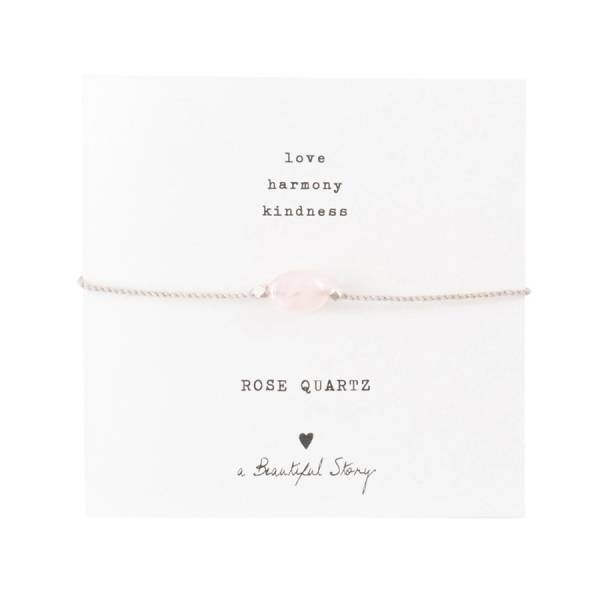 Gemstone Card Rose Quartz Silver Bracelet