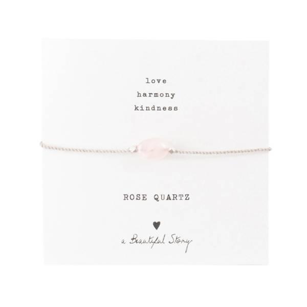 Edelsteinkarte Rosenquarz Silber Armband