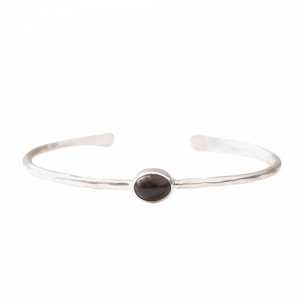 Moonlight Smokey Quartz Silver Bracelet