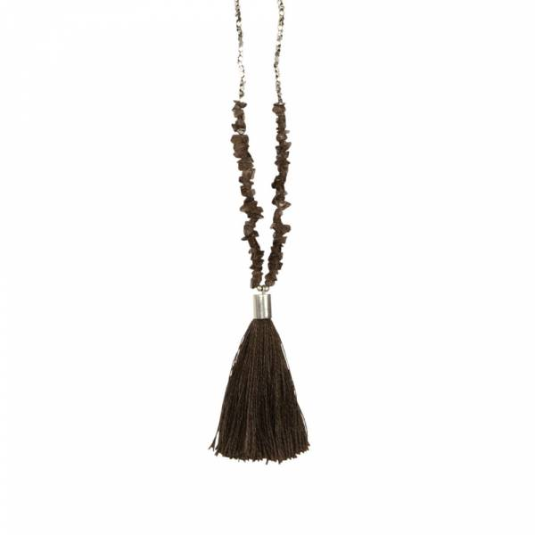 Brave Smokey Quartz Silver Necklace
