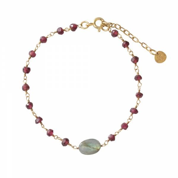 Universe Garnet Labradorite Gold bracelet