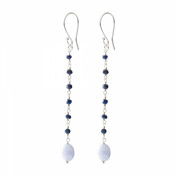 Blooming Lapislazuli Blauer Achat Silber Ohrringe