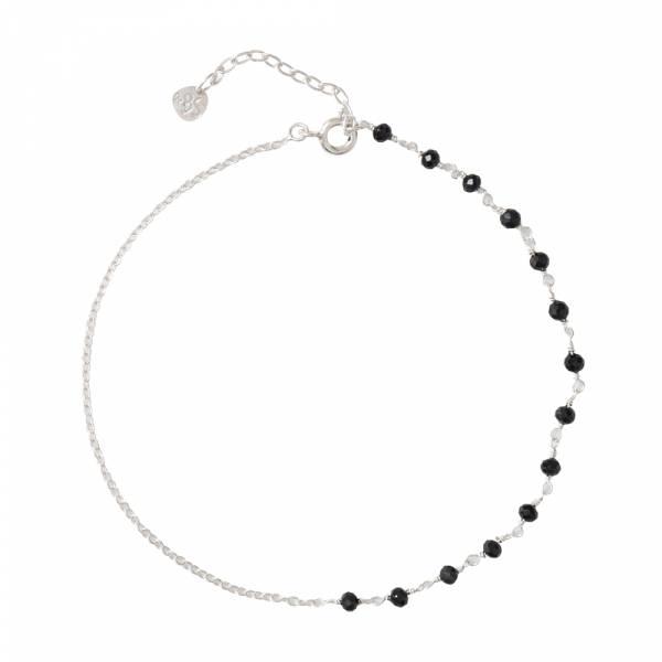 Shimmer Black Onyx Sterling Silver Anklet