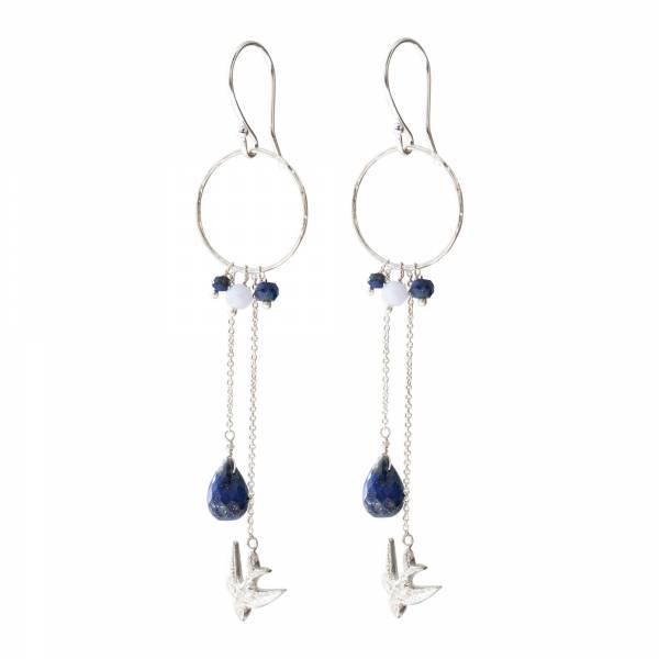 Festivity Lapis Lazuli Blauwe Agaat Zilver Oorbellen