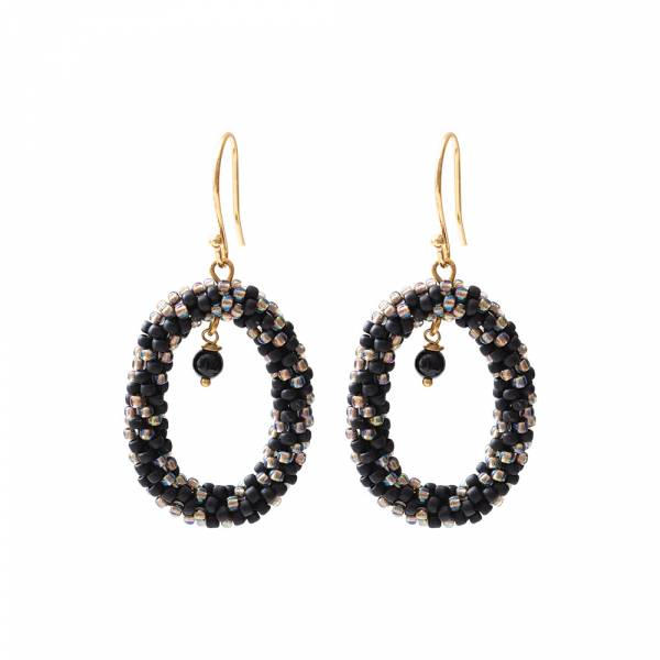 Faith Black Onyx Gold Earrings
