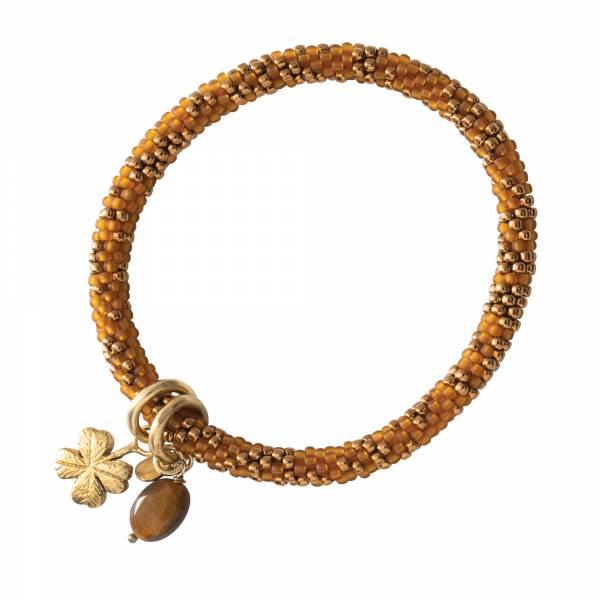 Jacky Multi Color Tiger Eye Gold Bracelet
