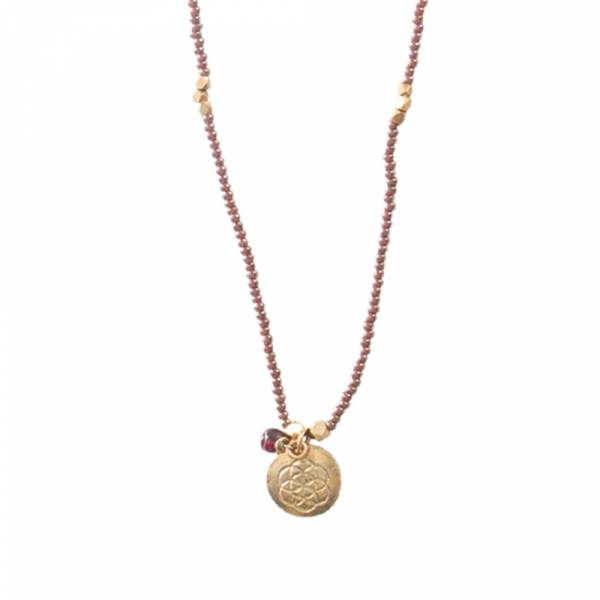 Truly Garnet Flower of Life Gold Necklace