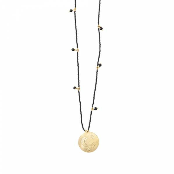 Radiant Black Onyx Moon Stars Gold Necklace