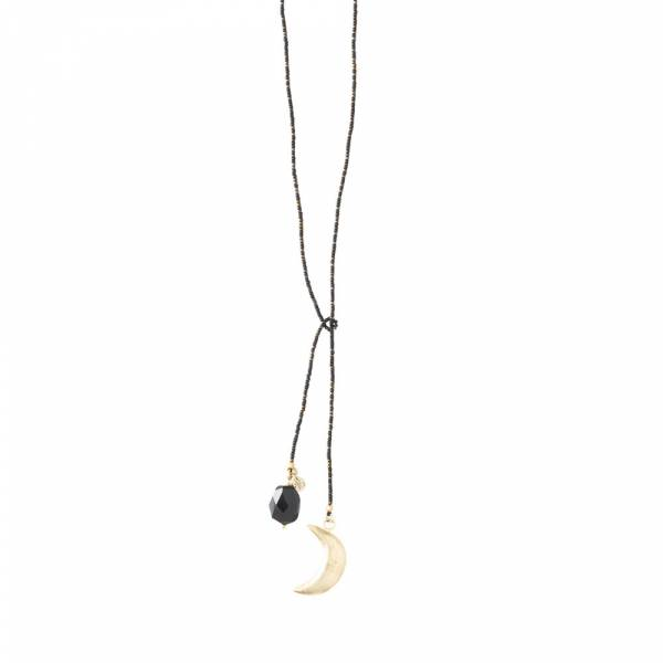 Nova Black Onyx Moon Gold Necklace