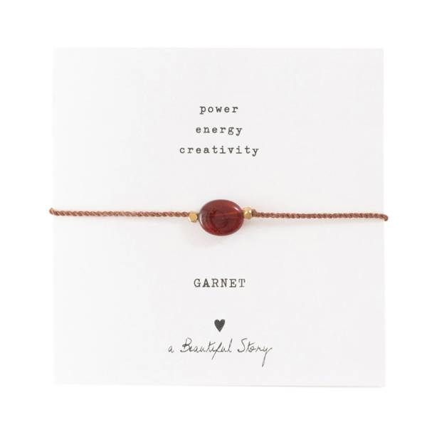 Gemstone Card Garnet Gold Bracelet
