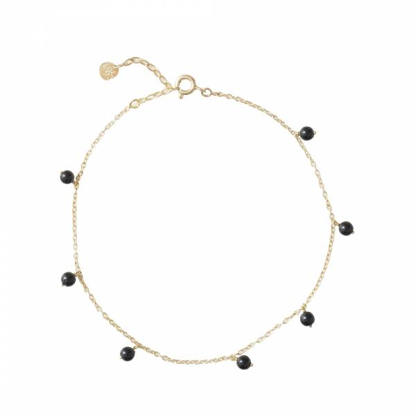 Adore Black Onyx Sterling Silver Gold-Plated Anklet
