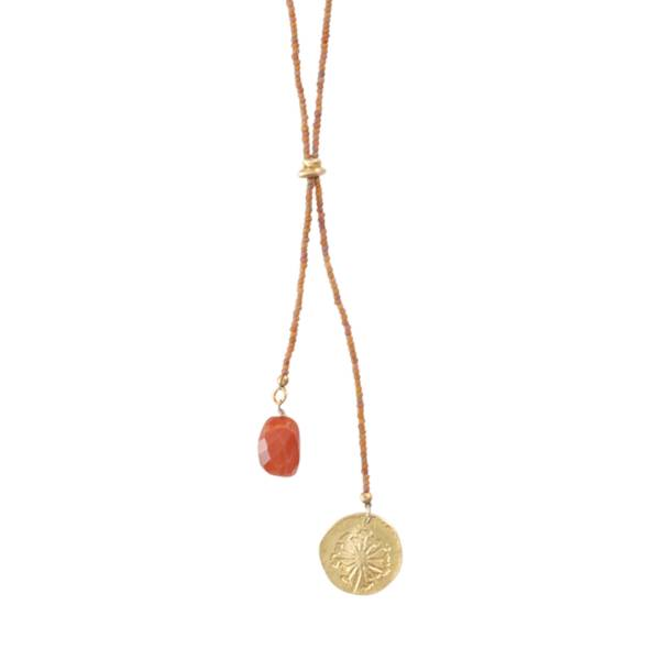 Fairy Carnelian Dandelion Gold Necklace