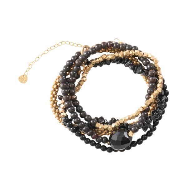 Superwrap Schwarzer Onyx Gold Armband