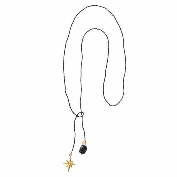 Nova Schwarzer Onyx Gold Halskette