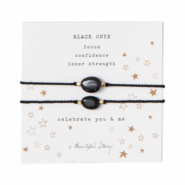Gemstone Card You & Me Black Onyx Gold