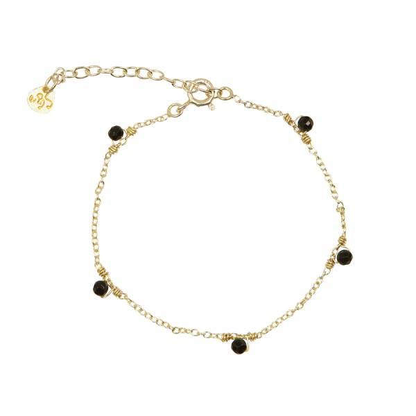 Mini Black Onyx sterling silver goldplated bracelet