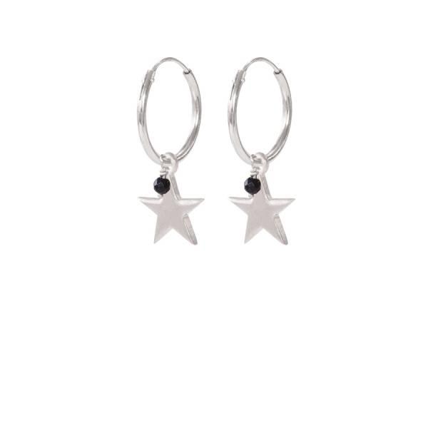 Großen Stern Schwarze Onyx Ohrring Sterlingsilber