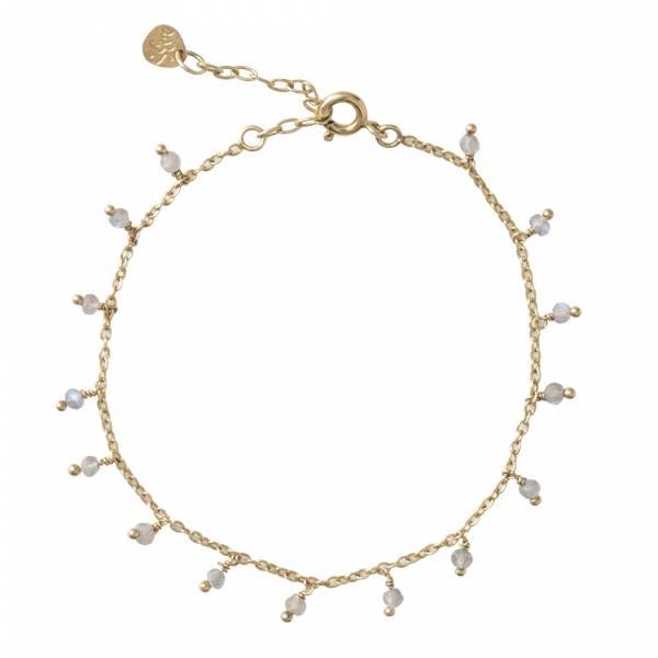 Fine Labradorite Sterling Silver Gold-Plated Bracelet