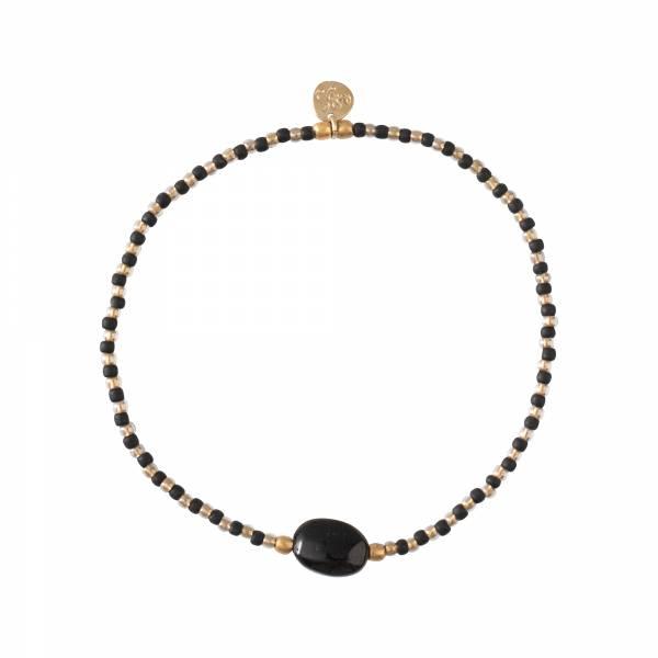 Winter Schwarzer Onyx Gold Armband