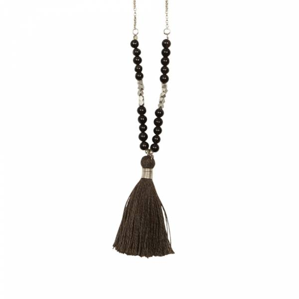 Happy Smokey Quartz silver necklace
