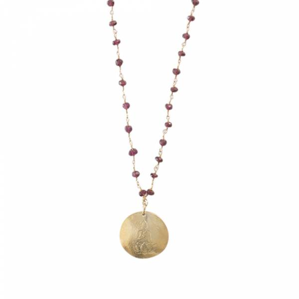 Rosary Garnet Buddha Gold Necklace