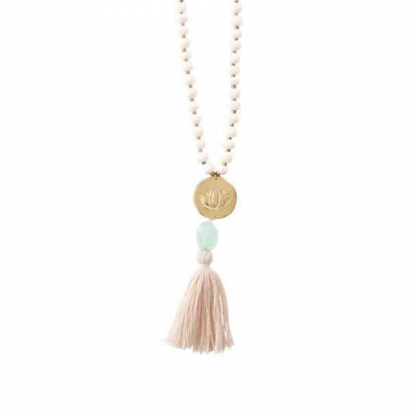 Satyan Aventurine Lotus Gold Necklace