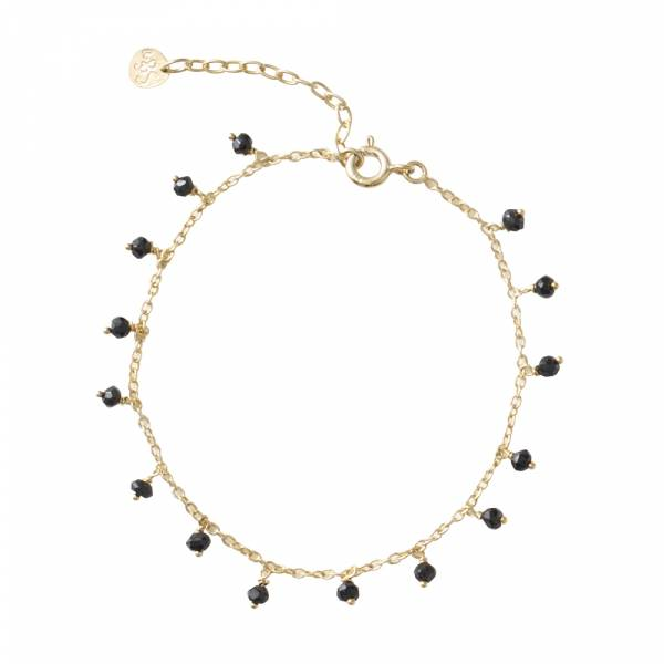 Fine Black Onyx Sterling Silver Gold-Plated Bracelet