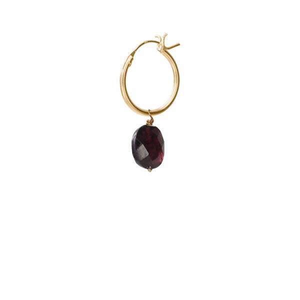 Garnet Sterling Silver Gold-Plated Hoop Earring