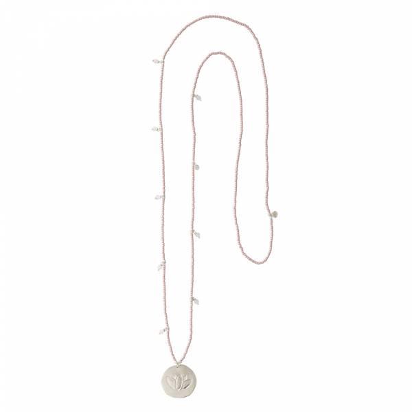 Radiant Rose Quartz Lotus Silver Necklace