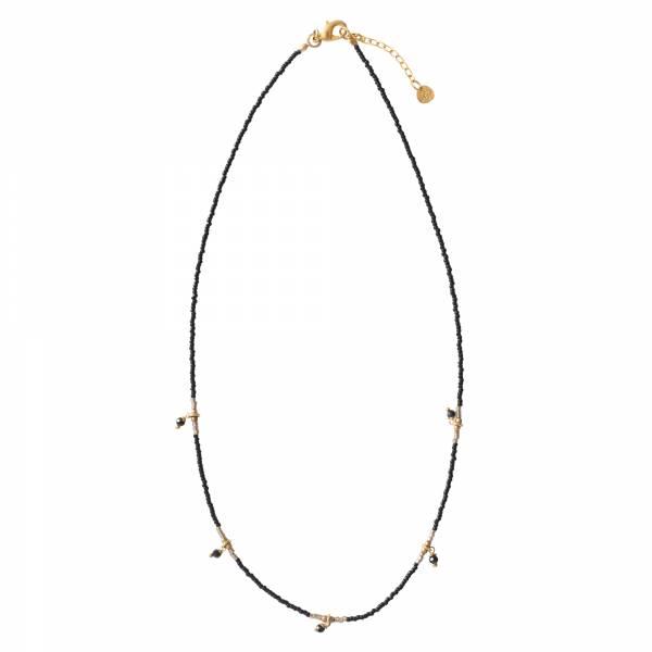 Cocoon Schwarzer Onyx Gold Halskette